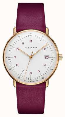 Junghans Max bill dames quartz | bracelet en cuir de veau rose 047/7850.00