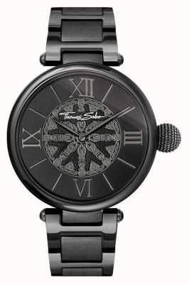 Thomas Sabo Womans karma noir ip montre en acier WA0307-202-203-38
