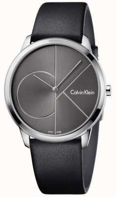 Calvin Klein Bracelet en cuir noir monté unisexe K3M211C3