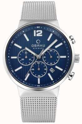 Obaku Homme chronographe cyan chronographe cadran bleu v180GCCLMC