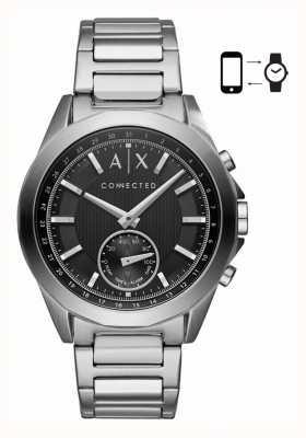 Armani Exchange Bracelet hybride smartwatch en acier inoxydable pour homme cadran noir AXT1006