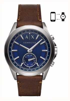Armani Exchange Montre hybride pour homme marron bracelet cuir marron cadran bleu AXT1010