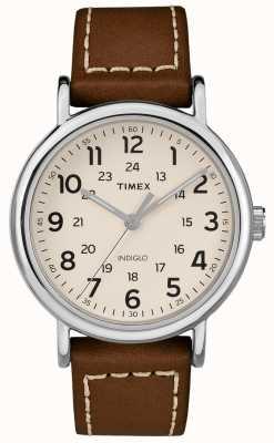Timex Bracelet en cuir marron pour femme TW2R42400