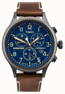 Timex Expedition scout chronographe bracelet brun cadran bleu TW4B09000D