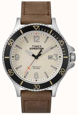 Timex Expedition ranger bracelet en cuir brun clair cadran naturel TW4B10600D7PF