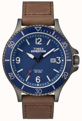 Timex Expedition ranger bracelet en cuir marron cadran bleu TW4B10700