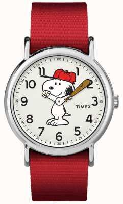 Timex Montre snoopy à bracelet rouge TW2R414006B