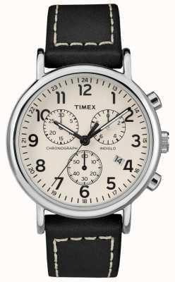 Timex Bracelet weekender chronographe homme en cuir noir TW2R42800D7PF