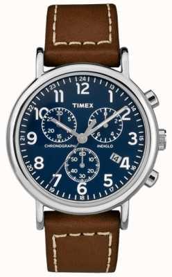 Timex Mens bracelet chronographe chronographe bracelet en cuir marron TW2R42600D7