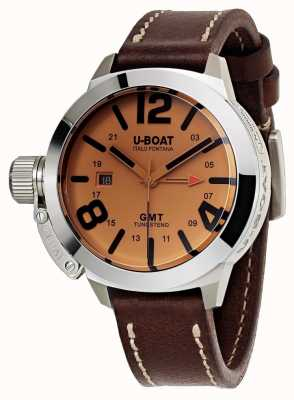 U-Boat Classico 45 gmt soit montre en cuir marron automatique 8051
