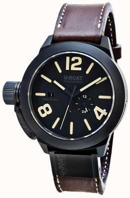U-Boat Bracelet en cuir marron automatique mat céramique Classico 48 8107