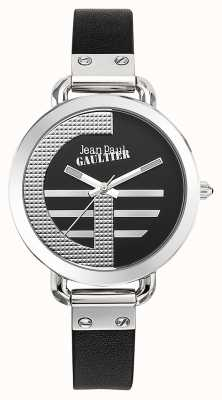 Jean Paul Gaultier Womens index g bracelet en cuir noir cadran noir JP8504315