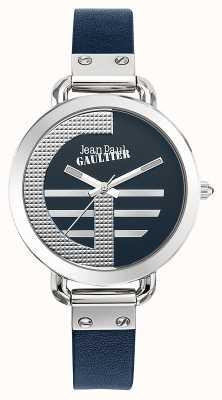 Jean Paul Gaultier Womens index g bracelet en cuir bleu cadran bleu JP8504324