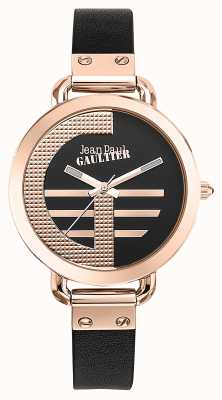Jean Paul Gaultier Womens index g bracelet en cuir marron cadran noir JP8504325