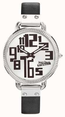 Jean Paul Gaultier Womens index bracelet en cuir noir cadran argenté JP8504305