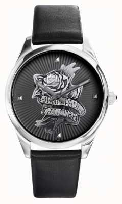 Jean Paul Gaultier Bracelet en cuir noir avec tatouage bleu marine JP8502412