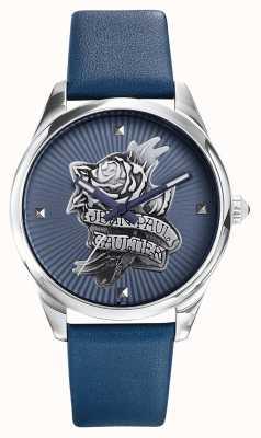 Jean Paul Gaultier Bracelet bleu marine en cuir bleu tatoo JP8502413