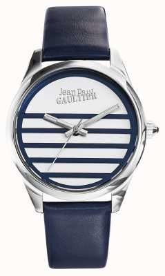 Jean Paul Gaultier Bracelet en cuir bleu marine avec cadran blanc JP8502409