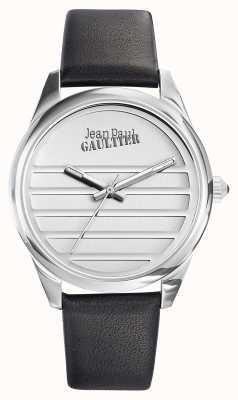 Jean Paul Gaultier Bracelet en cuir noir marine avec cadran blanc JP8502408