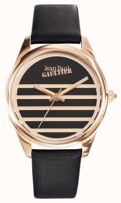 Jean Paul Gaultier Bracelet noir en cuir noir marine JP8502410