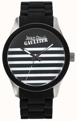 Jean Paul Gaultier Enfants terribles en caoutchouc noir bracelet en acier cadran noir JP8501121