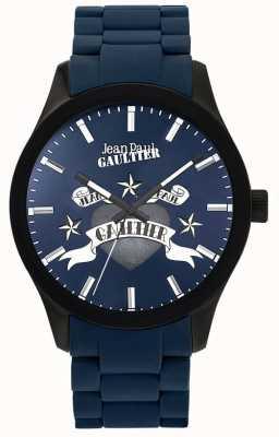 Jean Paul Gaultier Enfants terribles bleu caoutchouc bracelet en acier cadran bleu JP8501124