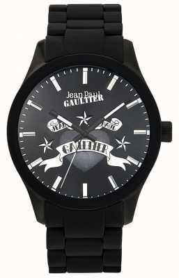 Jean Paul Gaultier Enfants terribles bracelet en caoutchouc noir cadran noir JP8501125