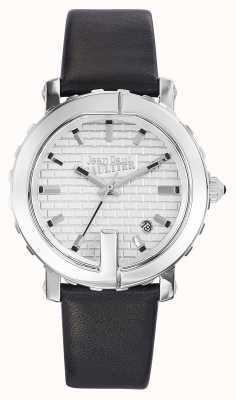 Jean Paul Gaultier Womens point g bracelet en cuir noir cadran argenté JP8500515