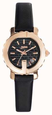 Jean Paul Gaultier Womens point g - mini bracelet en cuir noir avec cadran noir JP8503502