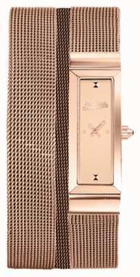 Jean Paul Gaultier Womens cote de maille or rose pvd maille bracelet rose cadran JP8503906