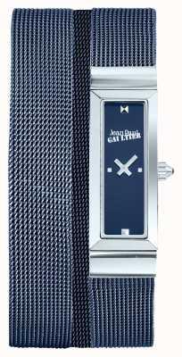 Jean Paul Gaultier Womens côte de maille bleu pvd maille bracelet cadran bleu JP8503904