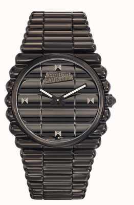 Jean Paul Gaultier Mens bord noir bracelet pvd noir cadran noir JP8504203