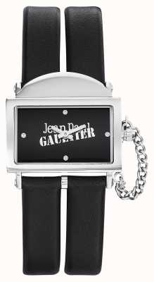 Jean Paul Gaultier Womens 325 bracelet en cuir noir cadran noir JP8501609