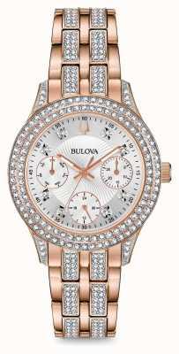Bulova Montre femme en or rose et cristal 98N113
