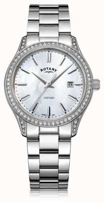 Rotary Womens oxford blanc en acier inoxydable montre à quartz LB05092/41