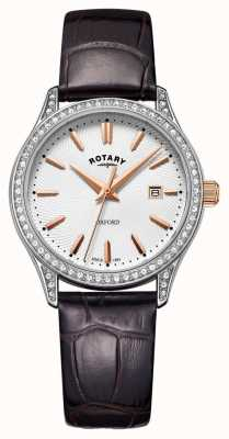 Rotary Womens oxford bracelet en cuir en acier inoxydable montre à quartz LS05092/02