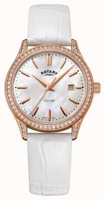 Rotary Womens oxford en cuir bracelet en or rose à quartz LS05096/41