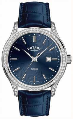 Rotary Womens oxford bracelet en cuir bleu montre à quartz LS05092/05