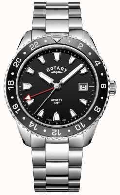 Rotary Mens henley noir en acier inoxydable montre à quartz GB05108/04