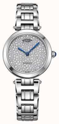 Rotary kensington pave acier montre à quartz LB05190/33