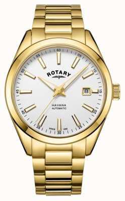 Rotary Mens havana argent blanc en acier inoxydable montre GB05081/02