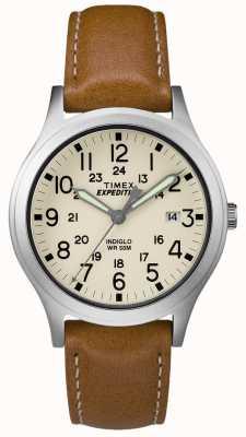 Timex Mens expédition scout tan cuir bracelet cadran naturel TW4B11000