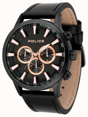 Police Bracelet en cuir noir avec cadran noir 15000JSB/02