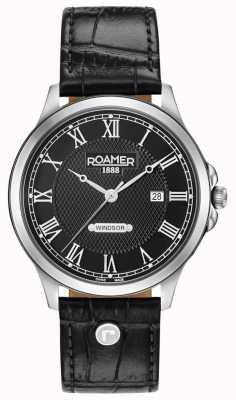 Roamer Cadran noir Windsor bracelet en cuir noir 706856415207