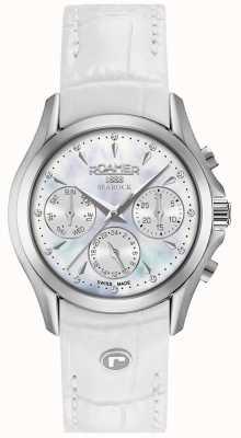 Roamer Bracelet chronographe en cuir blanc pour femme Searock 203901411002
