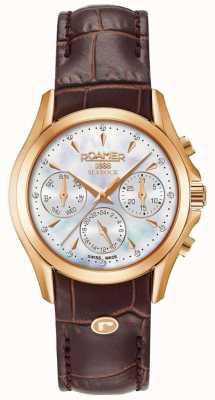Roamer Bracelet chronographe en cuir marron pour femme 203901491002