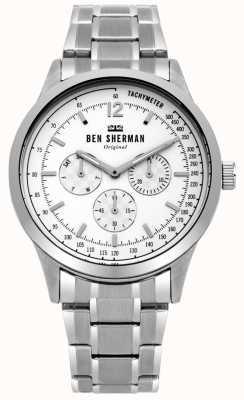 Ben Sherman Bracelet en argent pour homme blanc cadran multifonction WB073SM