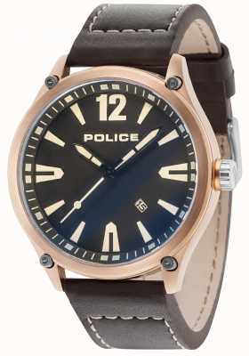 Police Boitier en or rose denton pour homme Bracelet en cuir noir 15244JBR/02