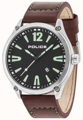 Police Boitier denton argent pour homme bracelet en cuir noir 15244JBS/02