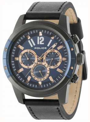 Police Scrambler bracelet en cuir noir cadran bleu 14528JSUBL/03